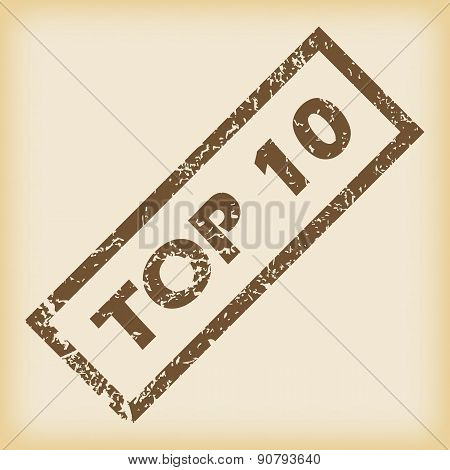 Brown rubber TOP 10 stamp