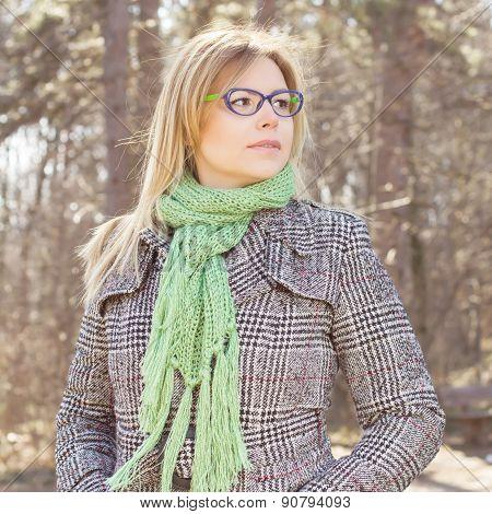 Sensual Beautiful Young Woman Outdoor Portrait