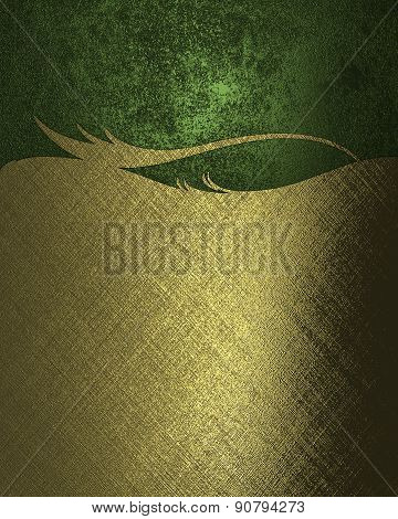 Texture Gold Pattern On A Green Background. Design Template. Design For Site