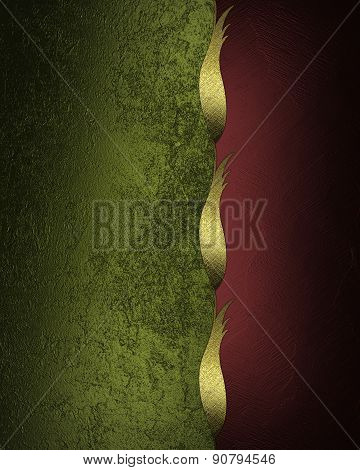 Green And Red Background With Gold Trim. Design Template. Design For Site