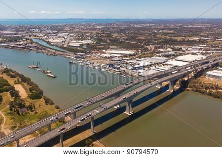 BRISBANE, AUS - OCT 23 2014: Sir Leo Hielscher Bridges on Gateway motorway. It is a pair of road bridges in the eastern suburbs of Brisbane.