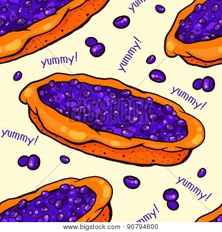 Blueberry pie seamless pattern