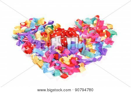 Present in the center of colorful heart