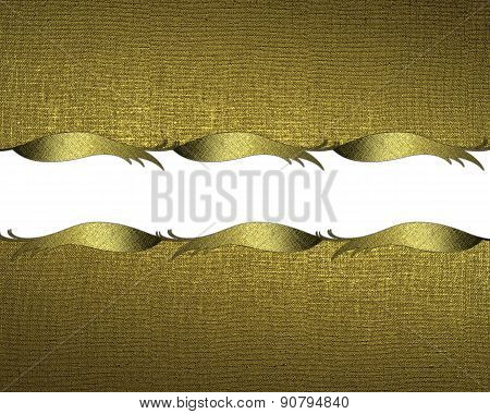 Grunge Gold Background With Gold Trim. Design Template. Design For Site