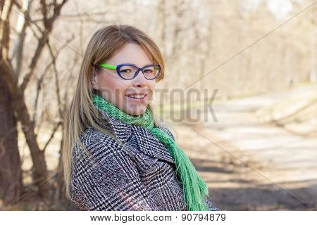 Happy Beautiful Young Woman Outdoor Portrait