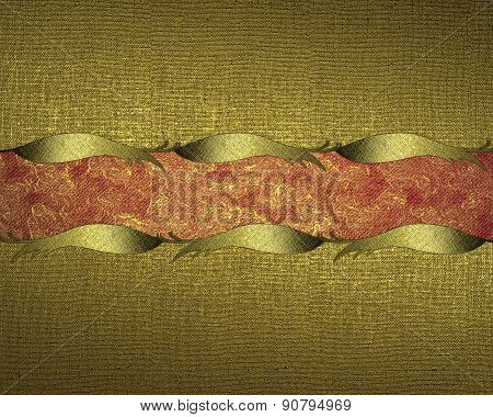 Grunge Gold Background With Gold Trim And Red Nameplate. Design Template. Design For Site