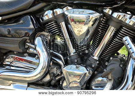 Closeup Photo Of Motorbike