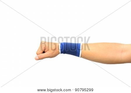 Hand With A Wrist Support Isolated On White