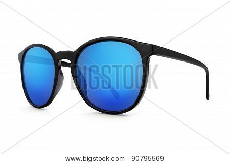 Sun glasses With Blue Lenses Mirror Isolated On White Background