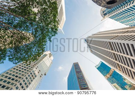 Modern Glass City Buildings During Sunny Day.