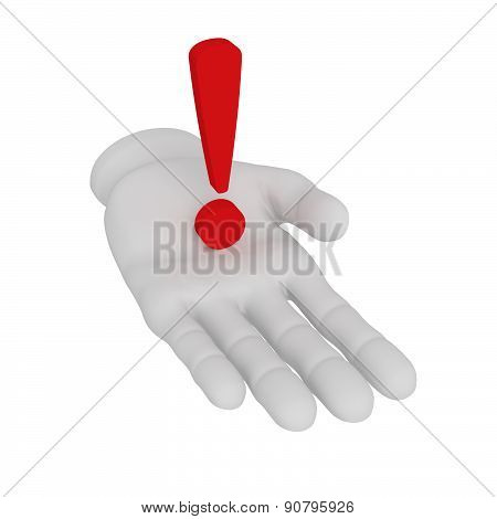 3D White Human Open Hand Holds Exclamation Mark . White Background.