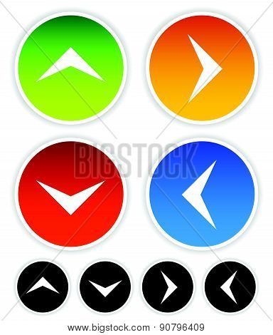 Arrow Icons Pointing Up, Down, Left And Right. Vector Graphic