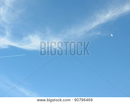 Airplane flies in direction moon