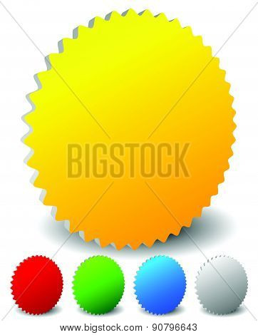 3D Starburst Shaped Badge Icons In 4 Colors, Yellow, Red, Green, Blue And Gray.