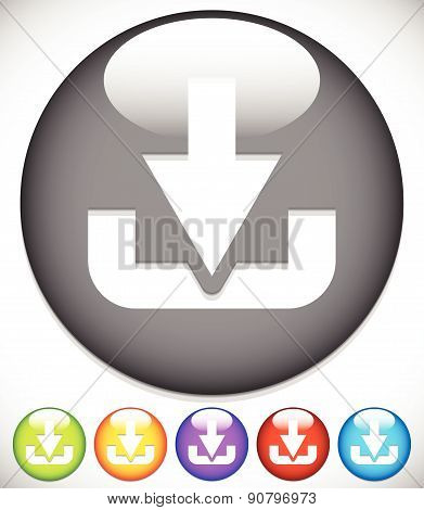 Download Button Or Icon With Arrow Pointing To A Hard Drive.. Eps 10 Vector Illustration