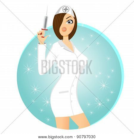 nurse holding syringe in her right hand
