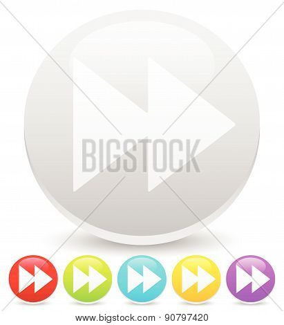 Colorful Right Arrows, Forward, Fast Forward Buttons, Icons. Vector Graphic