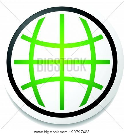 Green Planet Icon, Symbol With Grid, Wireframe