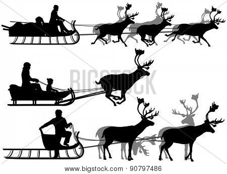 Set of eps8 editable vector silhouettes of people in sleighs pulled by reindeer with all figures as separate objects