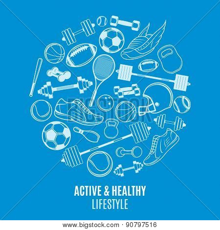 Sport Equipment, Pattern, Label Template