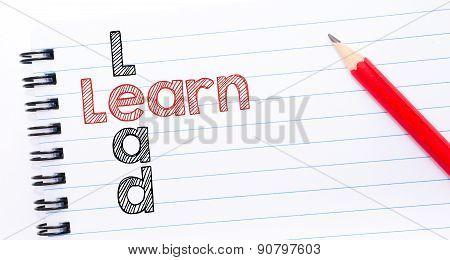 Learn Lead  Crossword  Written On Notebook Page