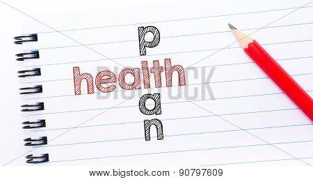 Health Plan Crossword  Written On Notebook Page