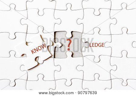 Missing Jigsaw Puzzle Piece Completing Word Knowledge