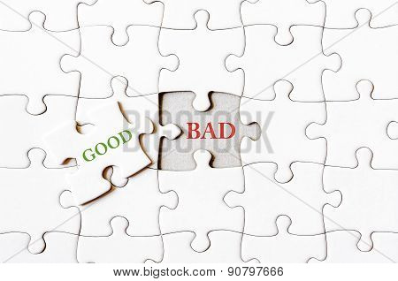 Missing Jigsaw Puzzle Piece With Word Good