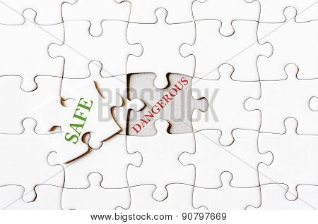 Missing Jigsaw Puzzle Piece With Word Safe
