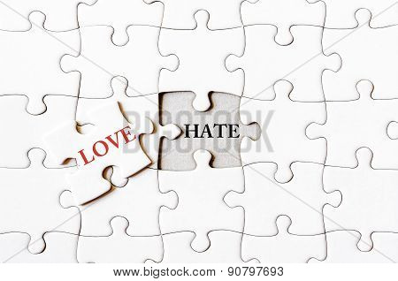 Missing Jigsaw Puzzle Piece With Word Love