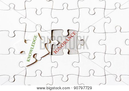 Missing Jigsaw Puzzle Piece With Word Knowledge