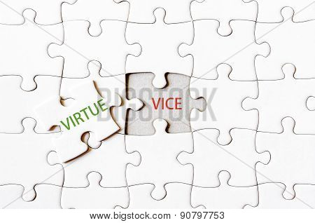 Missing Jigsaw Puzzle Piece With Word Virtue
