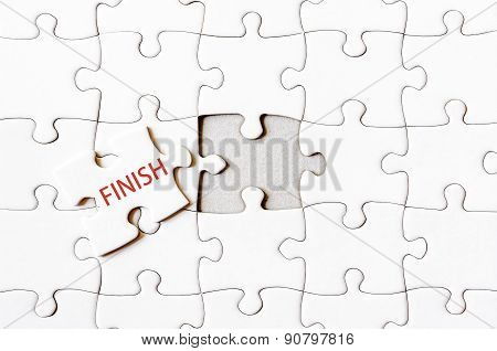 Missing Jigsaw Puzzle Piece With Word Finish