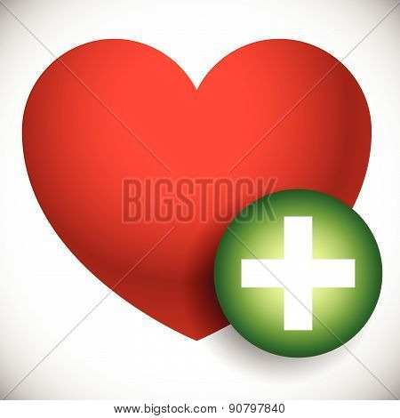 Heart With Plus, Cross Symbol As Heart Health Or Favorite Icon.
