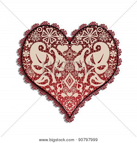 Lace Heart Valentines Greeitng Card Background