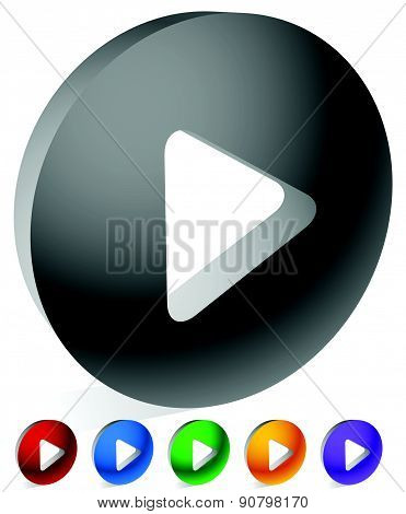 Round 3D Play Button, Play Icon In 6 Colors. Vector.
