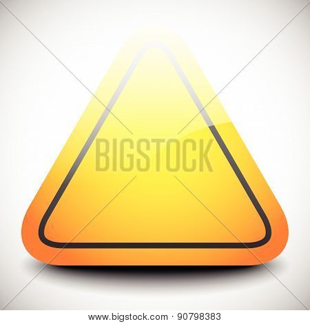 Empty Triangular, Orange Road Sign With Highlight. Vector