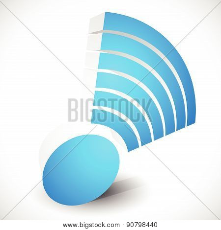 3D Wireless Signal Shape Isolated On White With Transparent Shadow.
