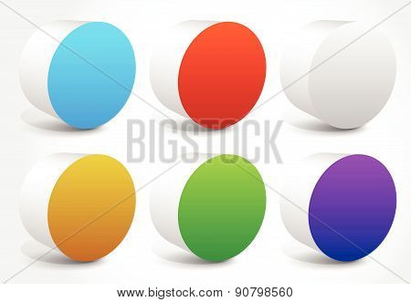 Abstract Colorful Cylinder, Cylindrical Shapes, Editable Vector.
