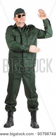 Worker in winter vest.