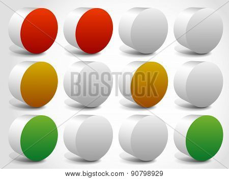 Set Of Abstract Traffic Lights, Traffic Lamps. Vector