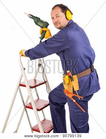 Worker on staircase
