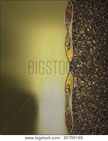 Gold Texture With Gold Trim And Gold Sand. Design Template. Design For Site