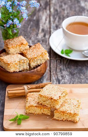 Homemade Sesame Cookies With Cup Of Tea