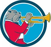pic of trumpets  - Illustration of a bulldog in a suit blowing trumpet viewed from the side set inside circle on isolated background done in cartoon style - JPG