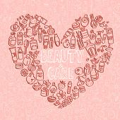foto of cosmetic products  - doodle cosmetic products heart shaped background vector - JPG