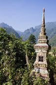 pic of ban  - Buddhist cemetery and mountains at Ban Phatang - JPG