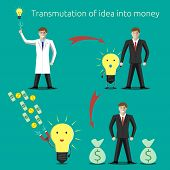 picture of money  - Transmutation of idea into money concept - JPG
