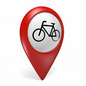 foto of gps  - Red cycling search finder icon with a bicycle symbol - JPG