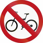 stock photo of traffic rules  - Colombian traffic sign prohibiting thoroughfare of bicyles - JPG